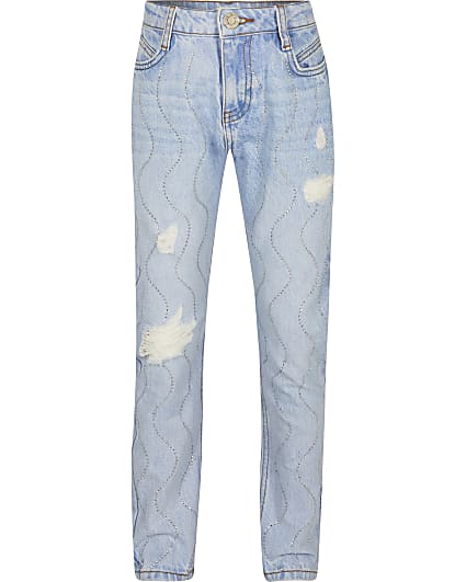 Girls blue diamante Mom jeans