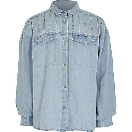 Girls blue diamante oversized denim shirt