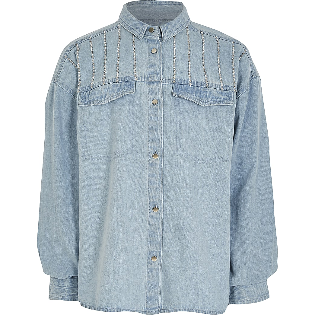 Girls blue diamante oversized denim shirt