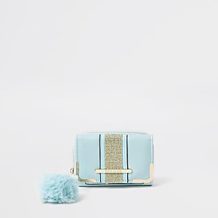 Girls blue diamante pom fold out purse