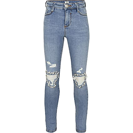 Girls blue diamante rip skinny jeans