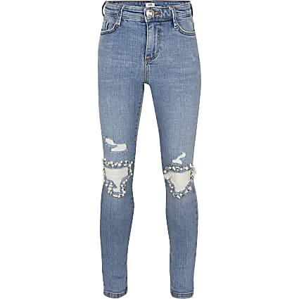 Girls blue diamante rip skinny jeans