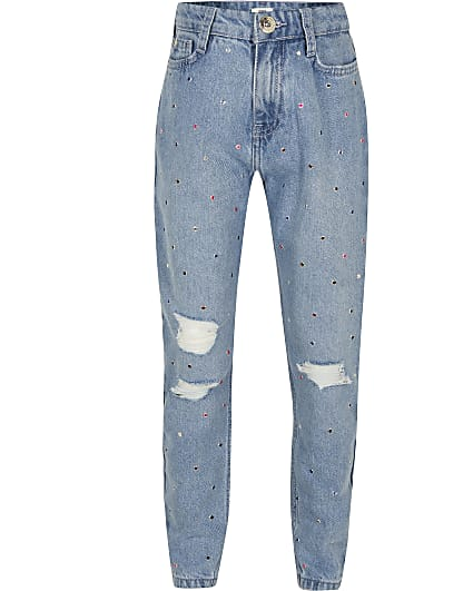 Girls blue diamante ripped mom jeans