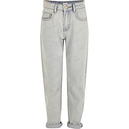 Girls blue diamante 'Riviera' Mom jeans