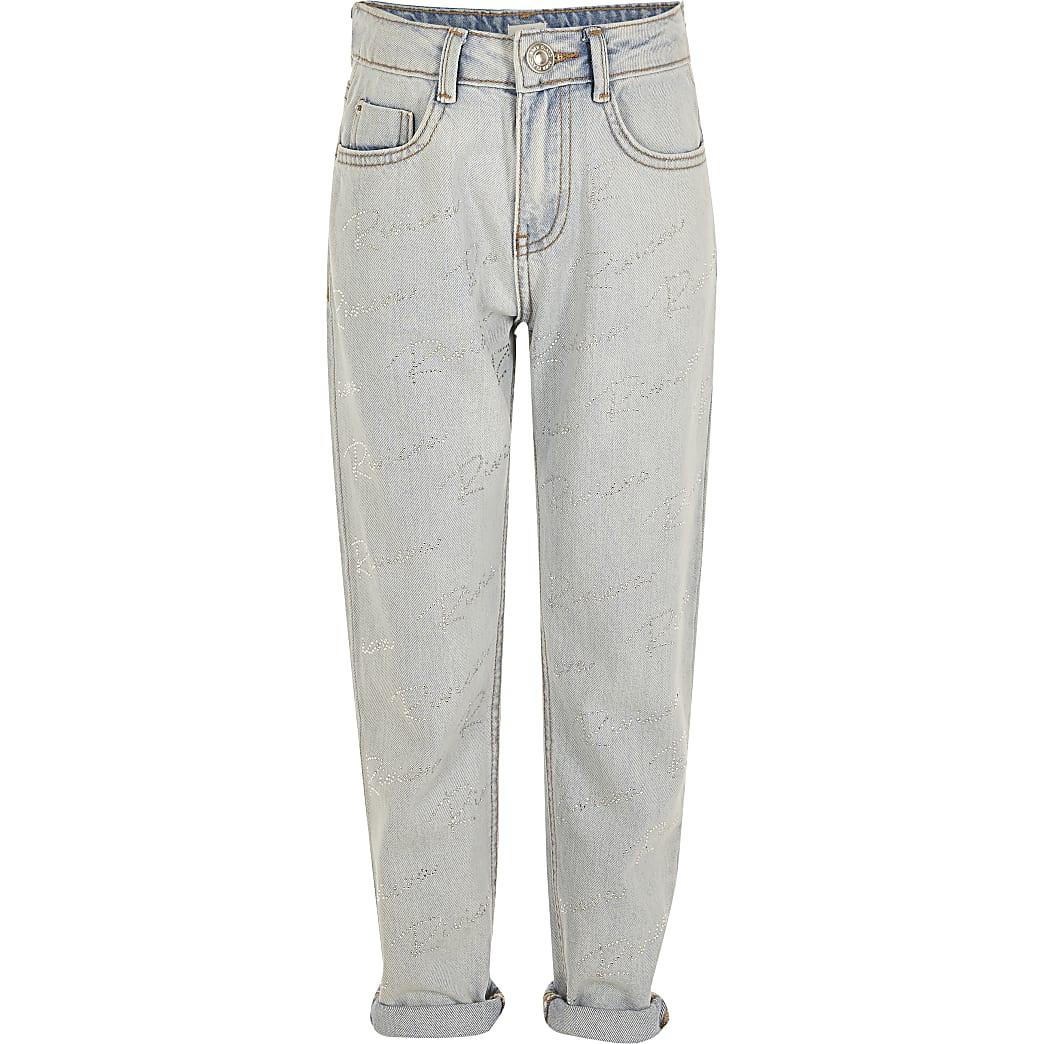Girls blue diamante 'Riviera' Mom jeans
