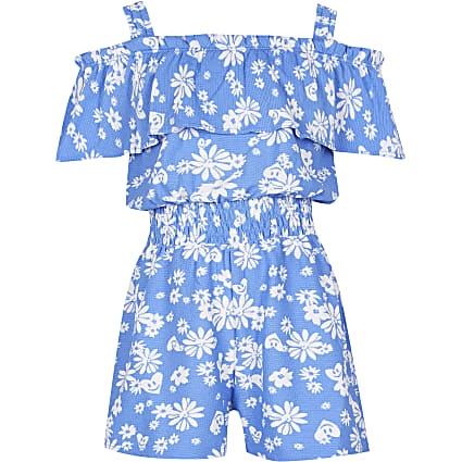 Girls blue ditsy print bardot playsuit