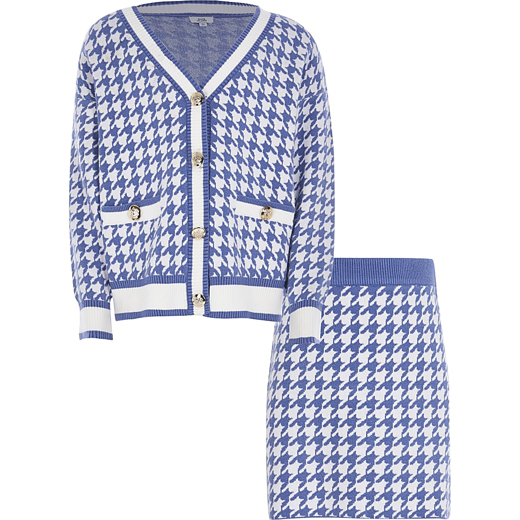 Girls blue dogtooth cardigan skirt outfit