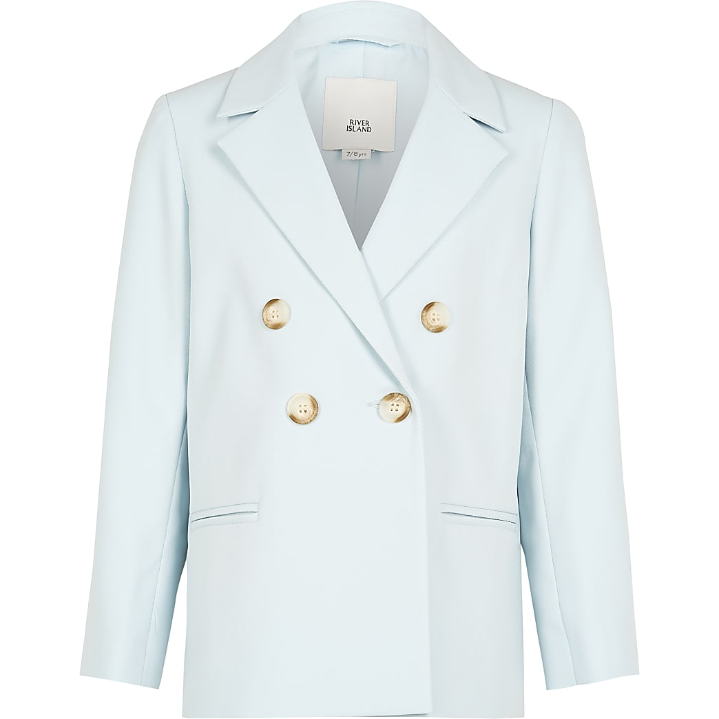 Girls blue double breasted blazer