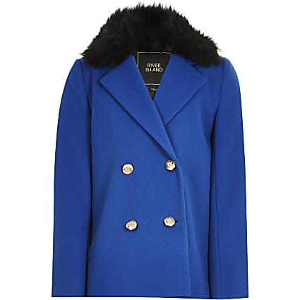 Girls blue double breasted fur trim coat