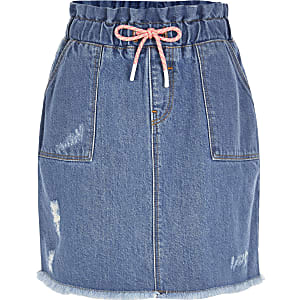 Jupe bleue à taille haute ceinturéeà cordons pour fille