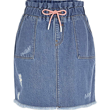 Girls blue drawstring paperbag skirt
