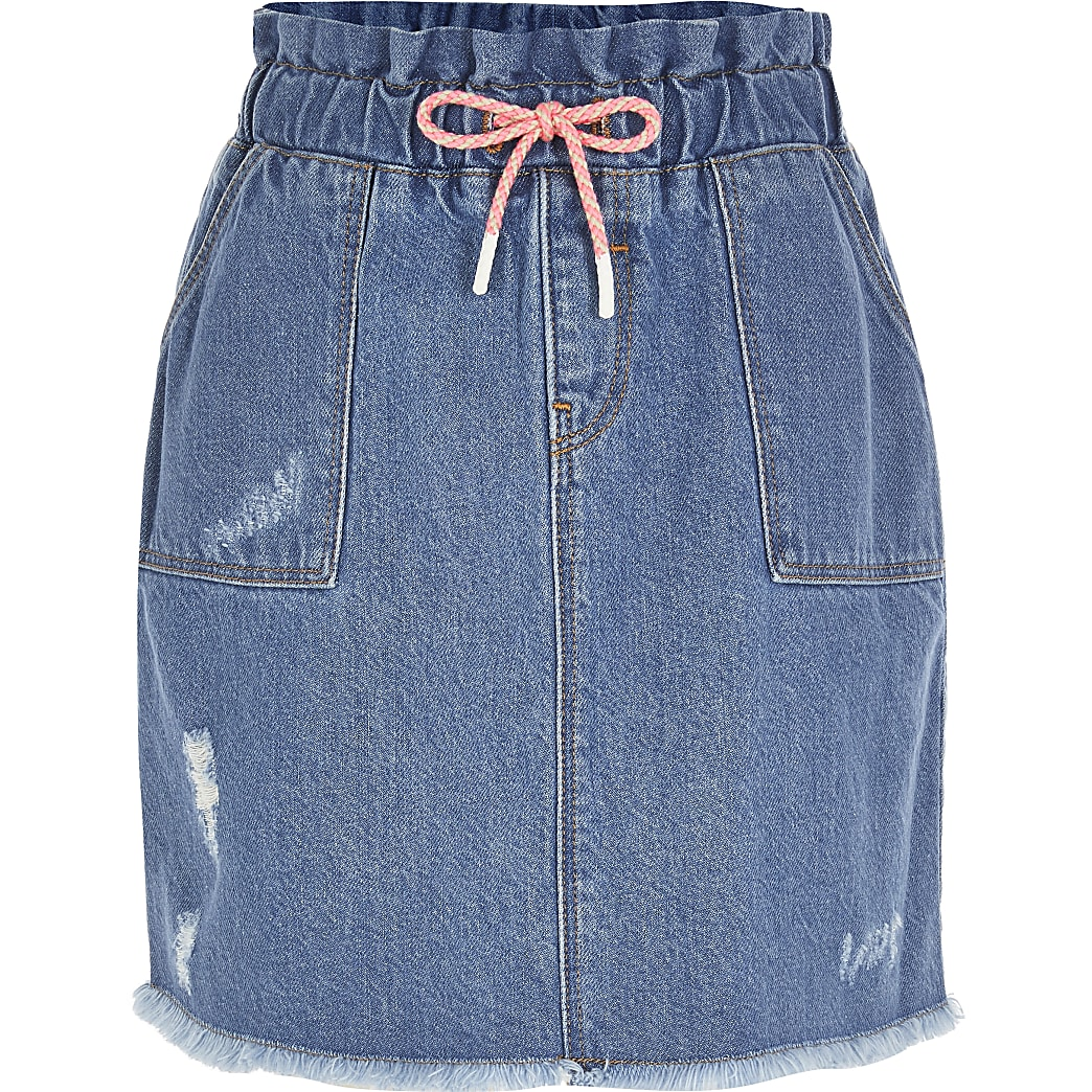 Girls blue drawstring paperbag skirt