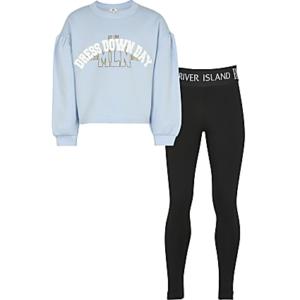 Girls blue 'Dress down day' sweatshirt outfit