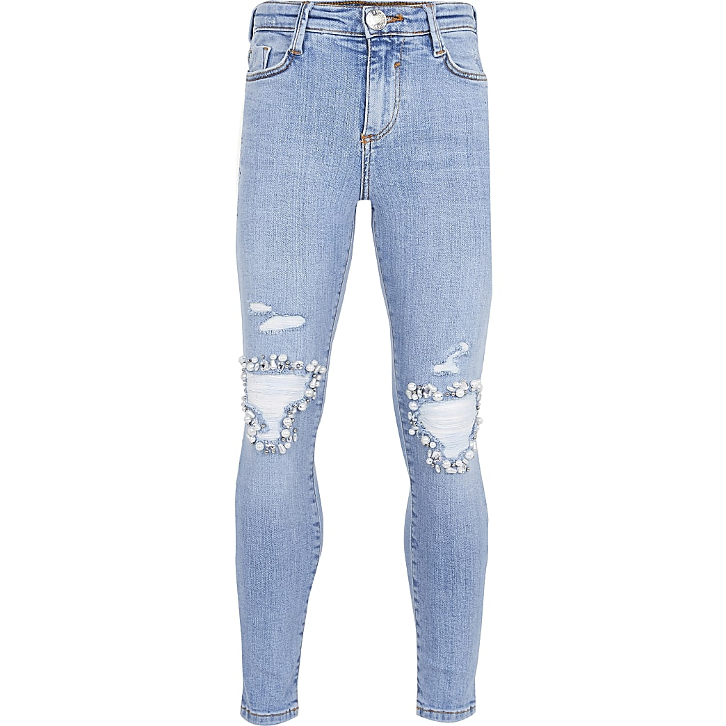 Girls blue embellished mid rise skinny jeans
