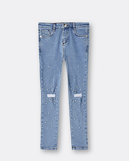 Girls blue embellished ripped skinny jeans