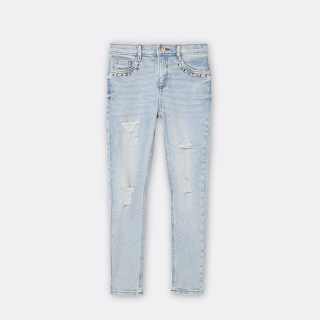 Girls blue embellished skinny jeans