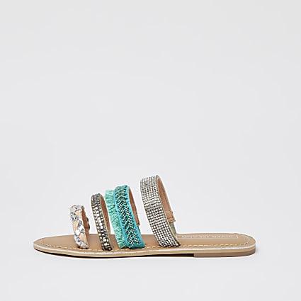 Girls blue embellished strap mule sandal