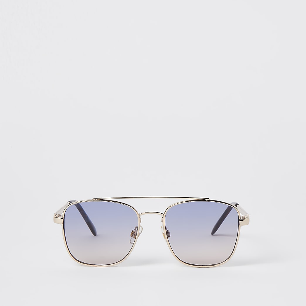 Girls blue embossed aviator sunglasses