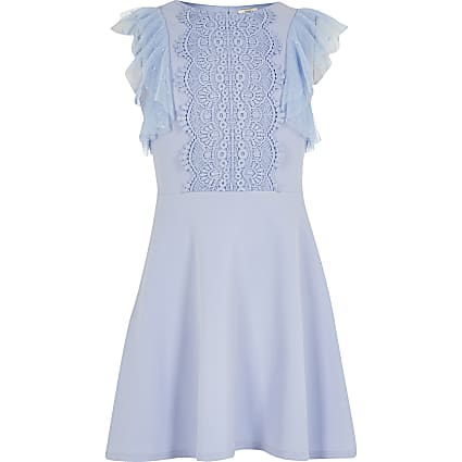 Girls blue embroidered frill skater dress