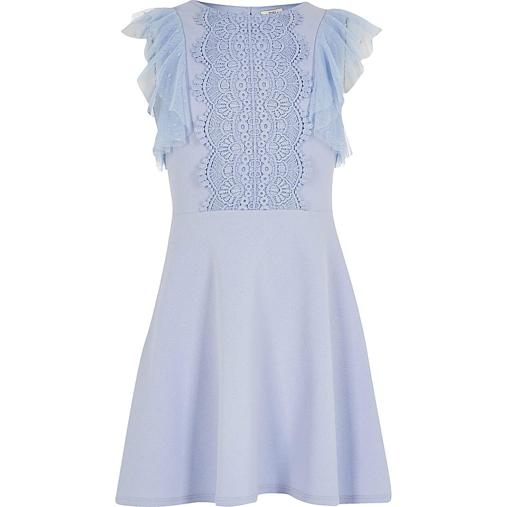 Gerüschtes blaues Skaterkleid mit Stickerei für Mädchen