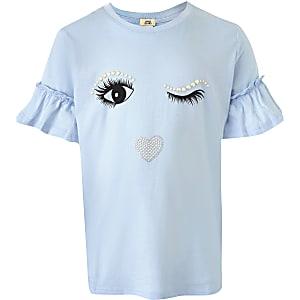 Blauw T-shirt met wimpers en ruches op de mouwen voor meisjes