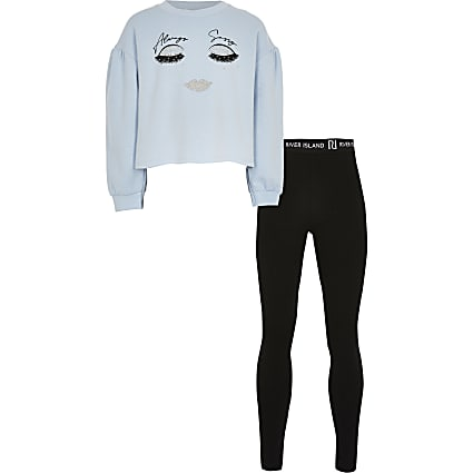 Girls blue face print sweatshirt legging set