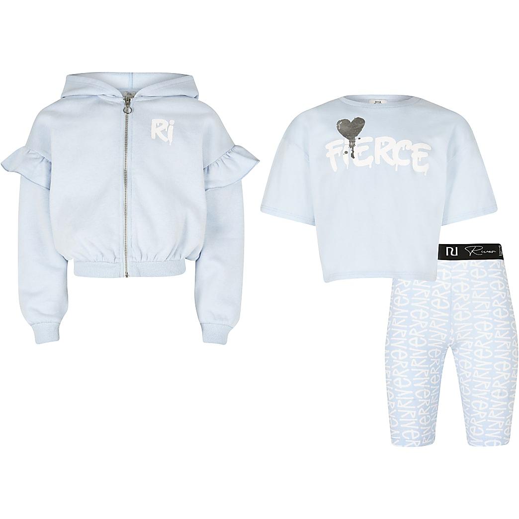 Girls blue 'Fierce' 3 piece outfit