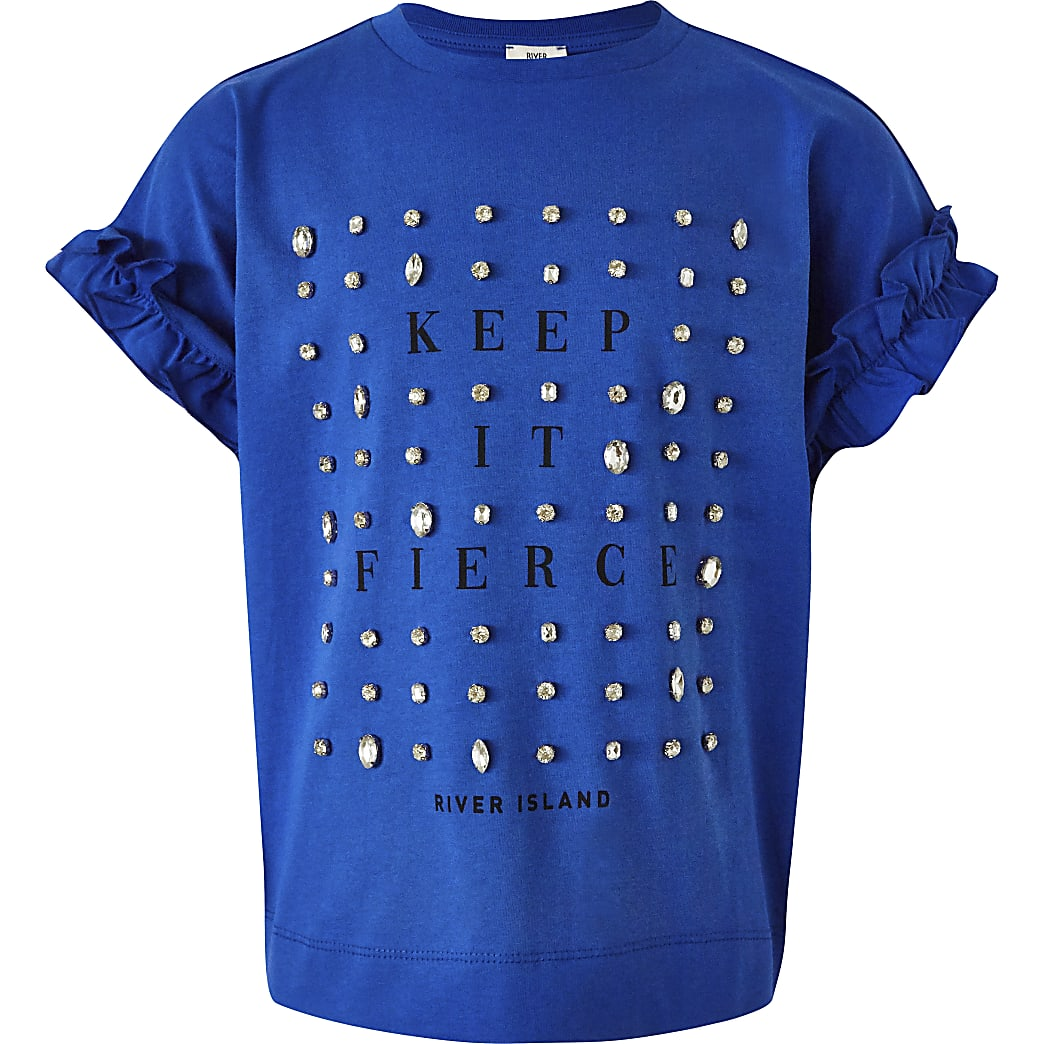 Girls blue 'Fierce' embellished print tee