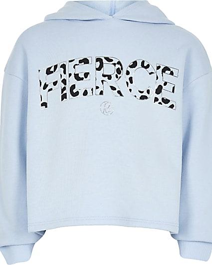 Girls blue 'Fierce' print hoodie