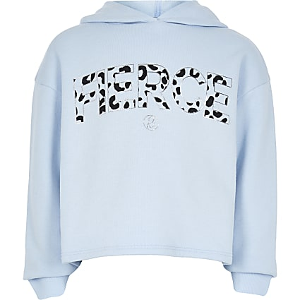 Girls blue 'Fierce' print hoodie