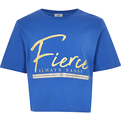 Girls blue 'Fierce' print t-shirt