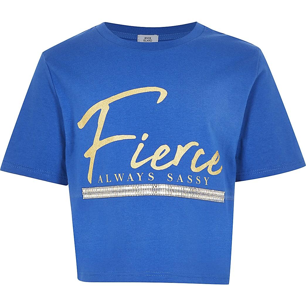 Girls blue 'Fierce' print t-shirt