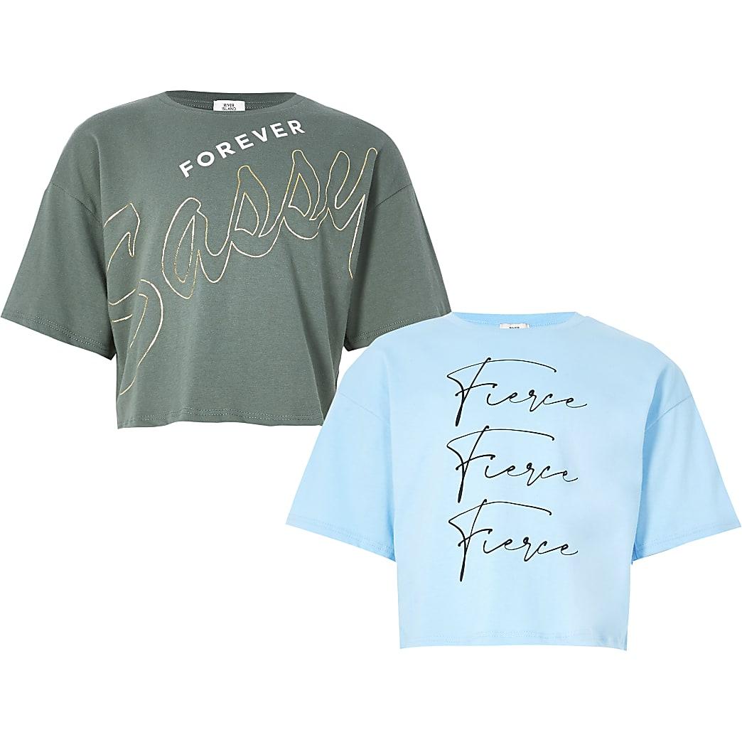Girls blue 'Fierce' printed t-shirt 2 pack