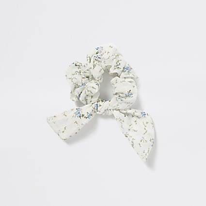 Girls blue floral bow scrunchie hairband