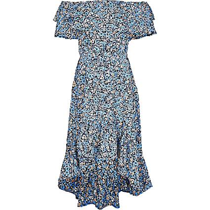 Girls blue floral frill bardot maxi dress
