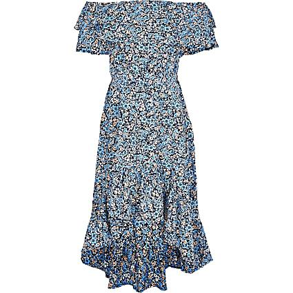 Girls blue floral frill bardot maxi dress