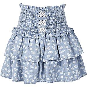 Blauwe rara rok met bloemenprint en veters voor meisjes