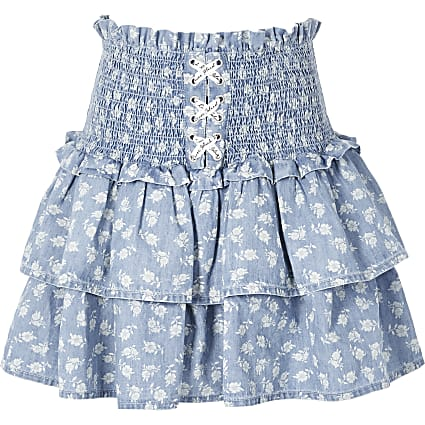 Girls blue floral frill lace-up rara skirt
