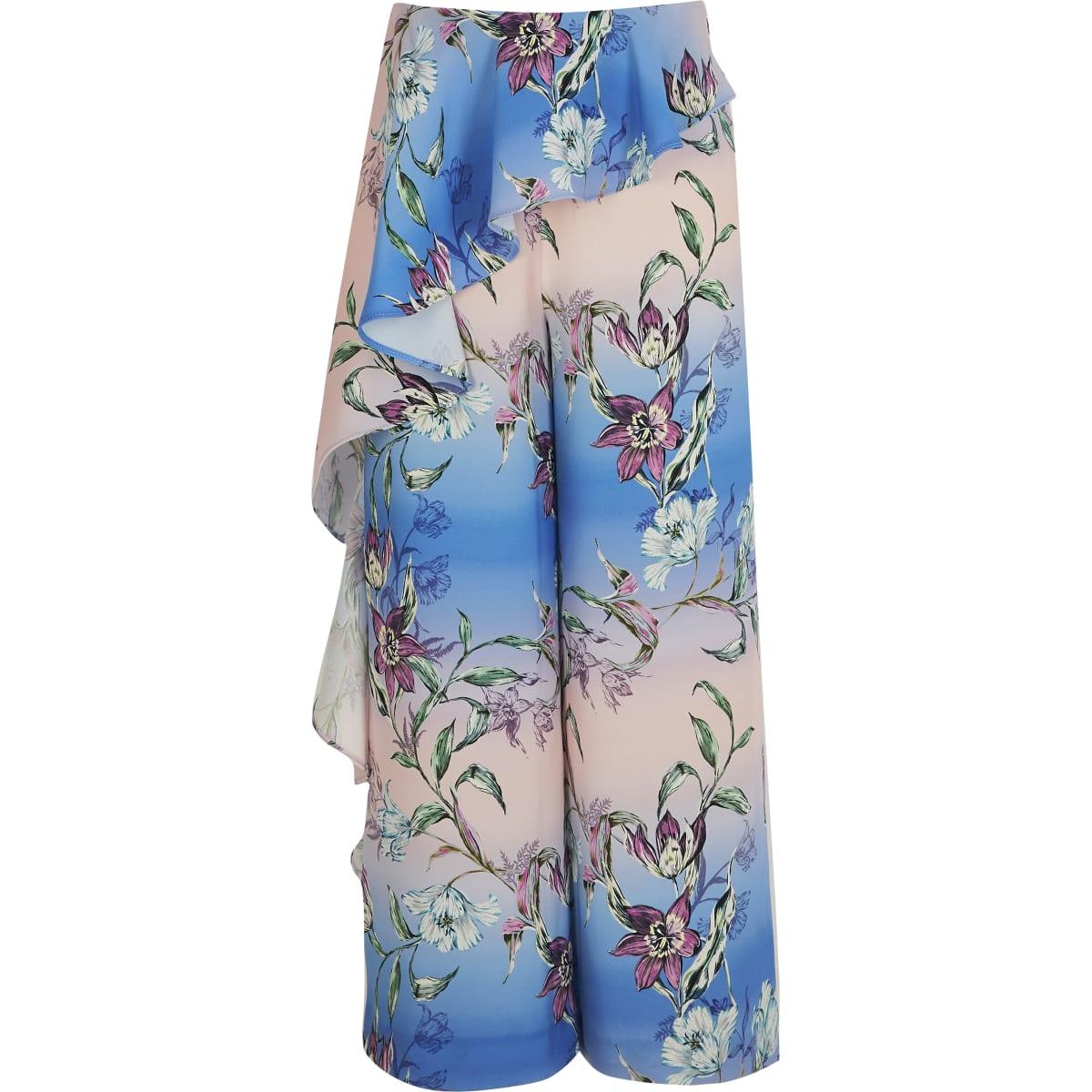 Blauwe broek met bloemenprint en wijde pijpen voor meisjes