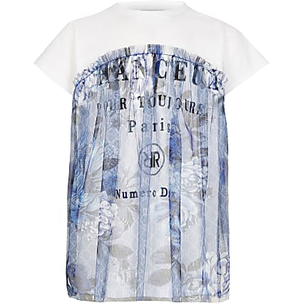 Girls blue floral mesh overlay t-shirt