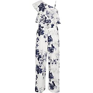 Blauwe jumpsuit met ontblote schouder en bloemenprint voor meisjes
