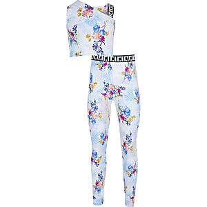 Girls blue floral print one shoulder outfit