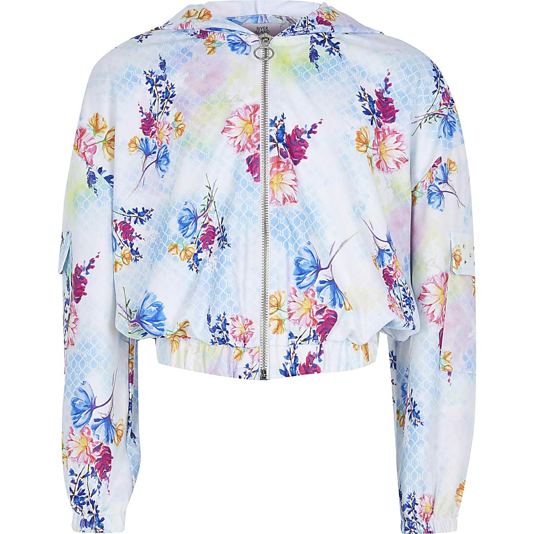 Girls blue floral print zip up through hoodie