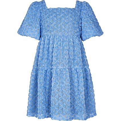 Girls blue floral smock dress