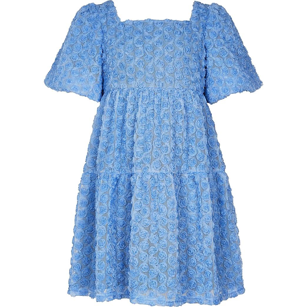 Girls blue floral smock dress
