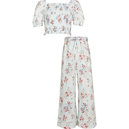 Girls blue floral trouser outfit