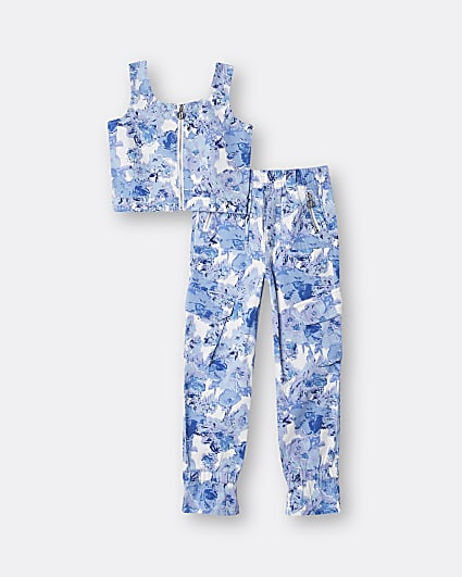 Girls blue floral zip top and cargo trousers