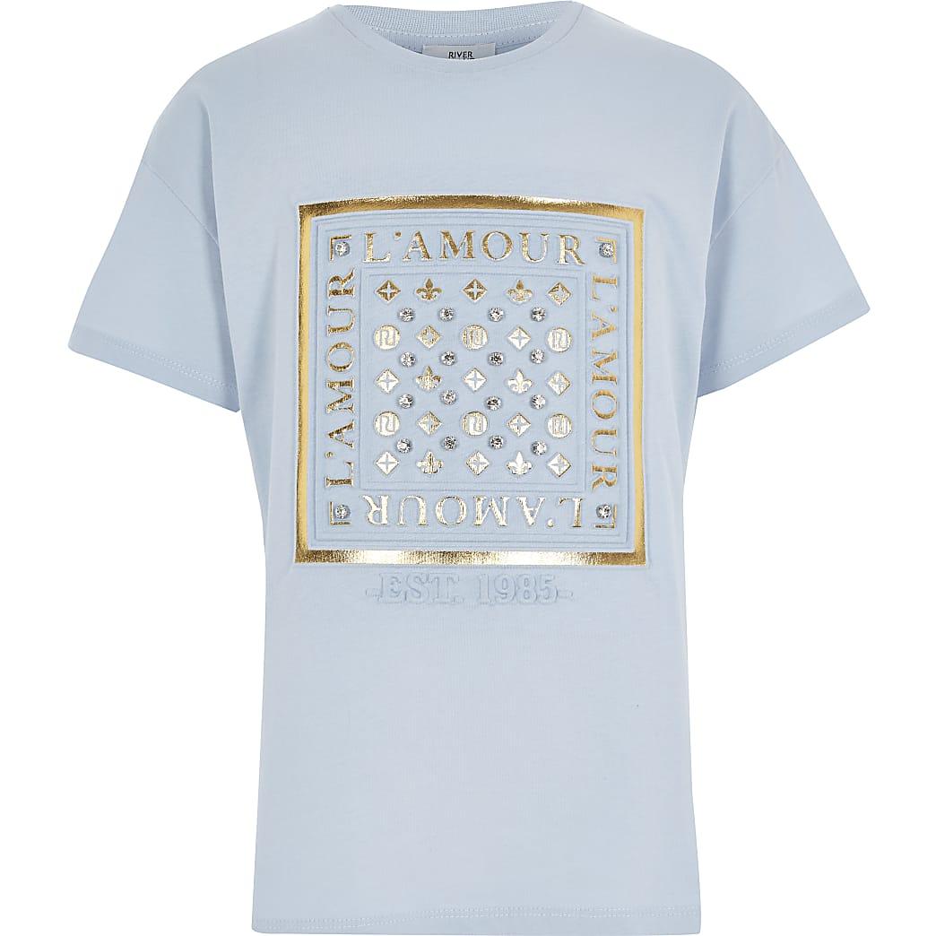 Girls blue foil embossed T-shirt