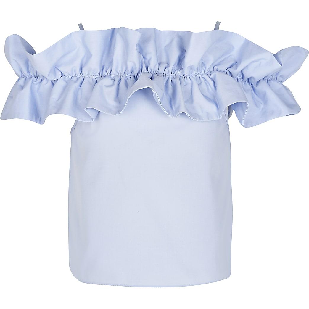 Girls blue frill bardot top