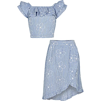 Girls blue frill crop top and skirt outfit